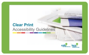 Cover page from CNIB Clear Print Guide Presentation